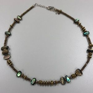 Silpada mother of pearl/bronze seed beads necklace